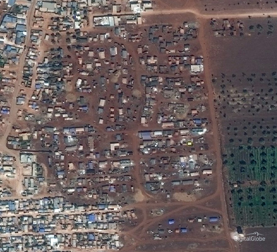 The same camp in Idlib showed signs of growth by September 2018.