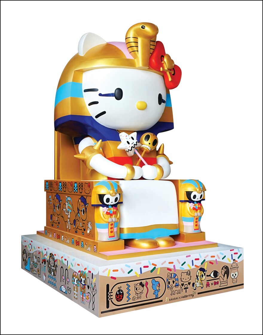 """Simone Legno's 2014 sculpture<em> Kittypatra</em> is on display at the <a href=""""http://www.janm.org/exhibits/hellokitty/"""">Hello Kitty exhibit</a> at the Japanese American National Museum in Los Angeles."""