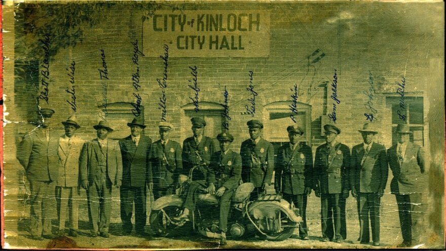Filmmaker Jane Gillooly obtained photos and archival footage from residents and former residents to accompany the film.  This photo of black Kinloch police officers is one of many photos that Gillooly received from the city and residents.