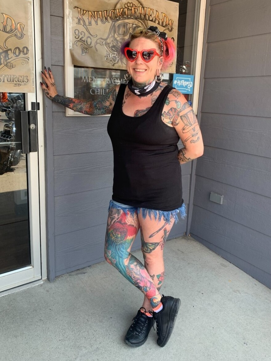 Lina Skipper is a tattoo artist from Colorado who's worked the rally for the past 10 years. Skipper is vaccinated but wears a mask while tattooing since her clients might not be vaccinated. She doesn't want to pass the delta variant to her high-risk relatives.