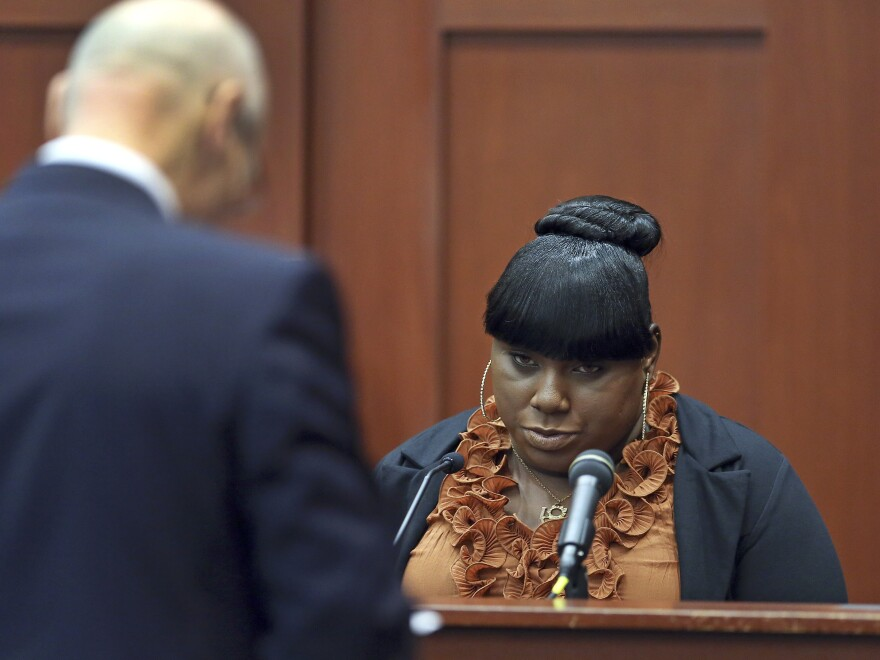 Witness Rachel Jeantel continues her testimony to defense attorney Don West during the trial of George Zimmerman on Thursday.