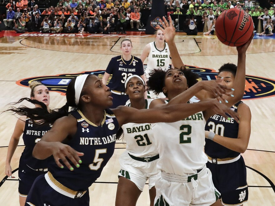 NCAA announced plans are underway to play the entire women's Division I basketball tournament in one location, San Antonio. The Baylor-Notre Dame title game in Tampa, Fla., last year is pictured.