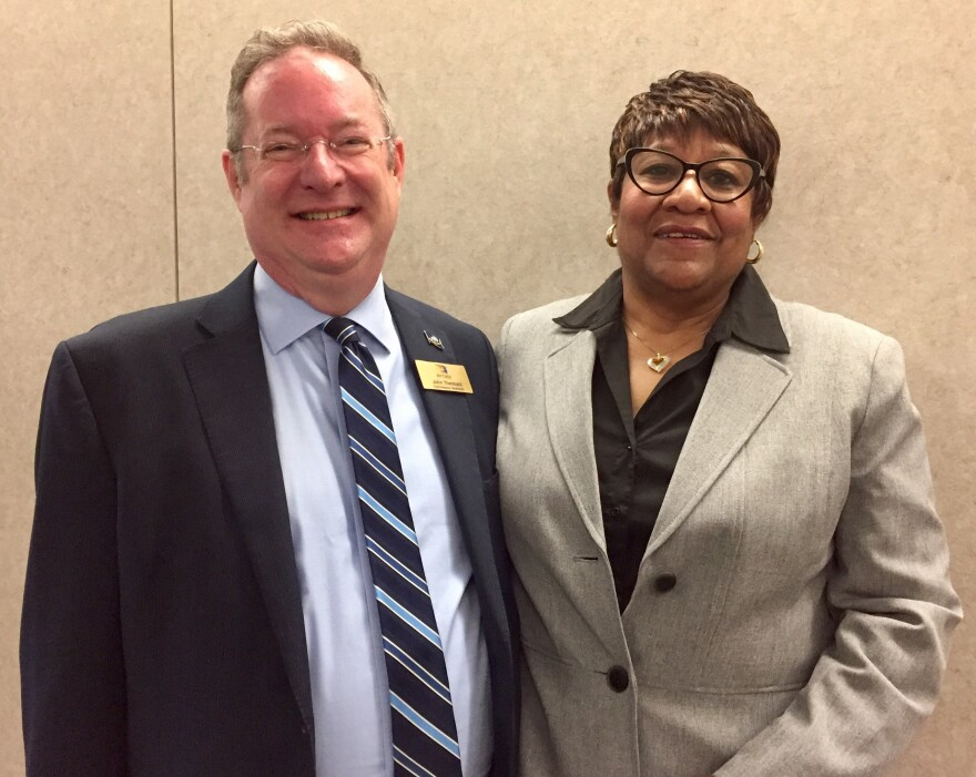 Ex-offender Mary Sanders-Yaqeen with John Theobald, aide to Montgomery County Commissioner Debbie Lieberman. Sanders-Yaqeen received reentry assistance from the county's Reentry Career Alliance Academy after serving a 10-year sentence at Dayton Correction