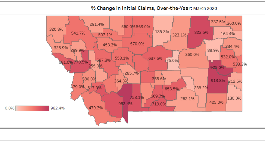The percent change of initial unemployement claims in March, over the year.