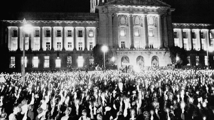 More than 25,000 persons jammed the park and streets around San Francisco?s City Hall on Monday, Nov. 28, 1978, in a spontaneous demonstration of grief for slain Mayor George Moscone and Supervisor Harvey Milk.