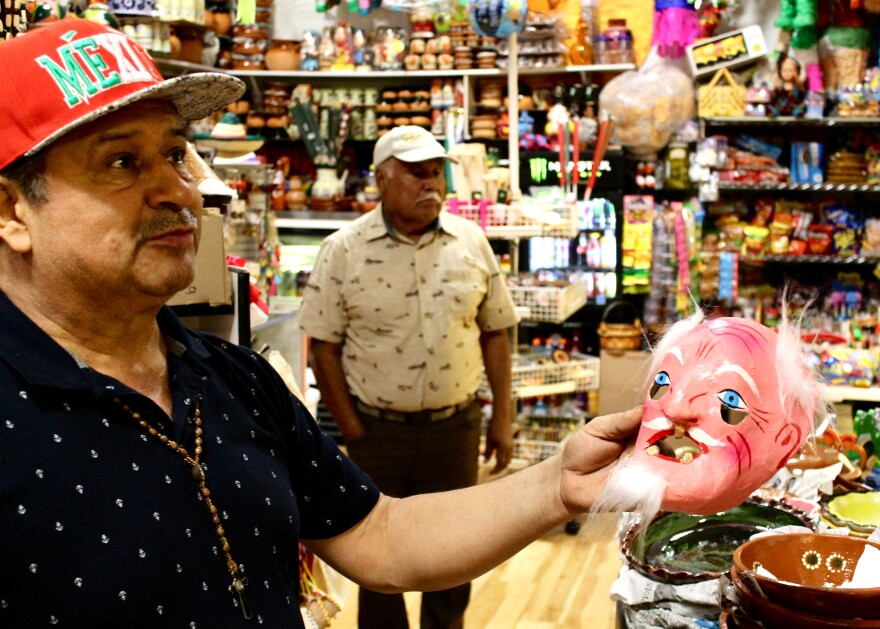 Armando Farias, 56, says many of the items in his shop at Plaza Garland are imported from his home state of Michoacán, Mexico.