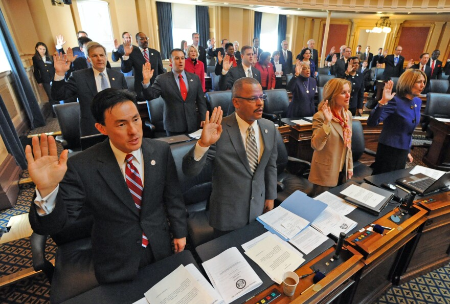 Mark Keam (left) is sworn in as a freshman delegate to the Virginia General Assembly in 2010 in Richmond, Va. Keam was the first Asian-American immigrant elected to the Virginia Legislature.