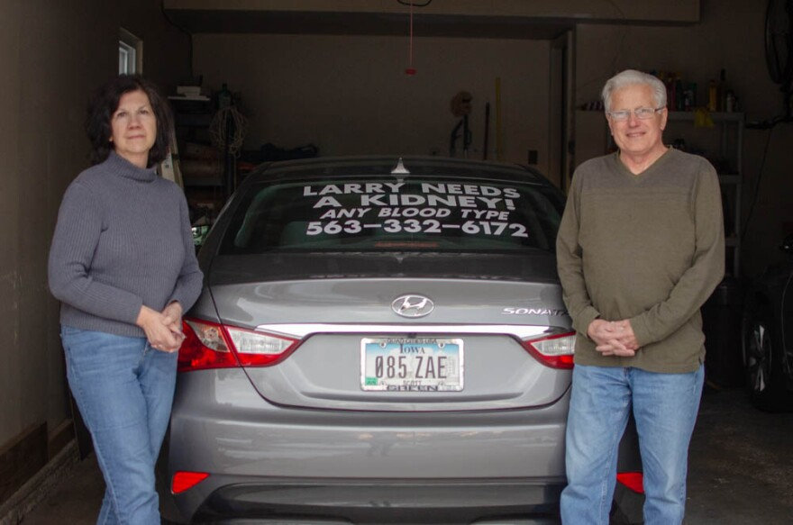 Bettendorf, Iowa, resident Larry Burkholder and his wife, Ellen, put signs on their cars looking for a kidney donor for him.