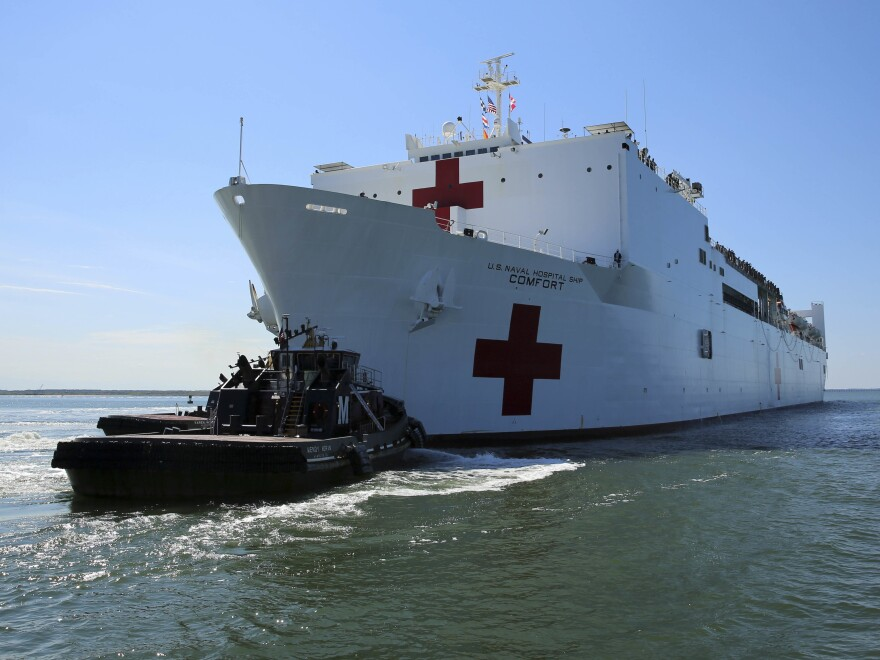 The Navy's hospital ship Comfort departs from Norfolk, Va., to support hurricane relief efforts in Puerto Rico.