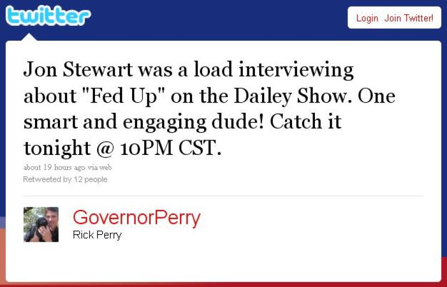 Governor Rick Perry tweet about Daily Show