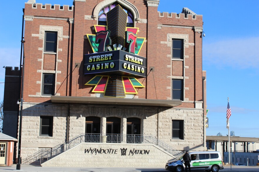 The front of a tribal casino in Kansas City, Kansas