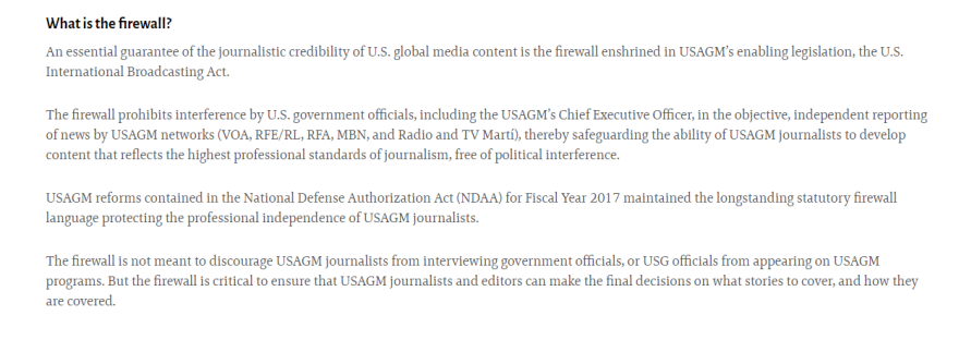 "On its own website, the U.S. Agency for Global Media says a ""firewall"" protects the Voice of America's coverage from political interference — even from the agency's CEO."