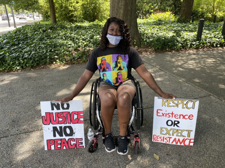 Jarae Anderson, counter-protesting a pro-Confederate monument group at the South Carolina State House grounds, July 10, 2020.