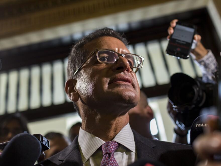 Appointed Secretary of State Pedro Pierluisi Urrutia arrives to the Senate, in San Juan, Puerto Rico, on Thursday.