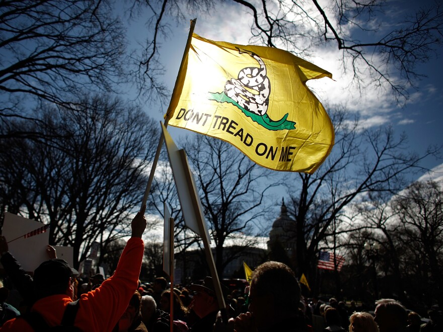 Tea Party activists hold a rally on Capitol Hill in 2010. That grassroots movement, with backing from the Koch political network, helped Republicans win back the House in the 2010 midterms. In 2018, the Koch network is on defense against Democratic gains.