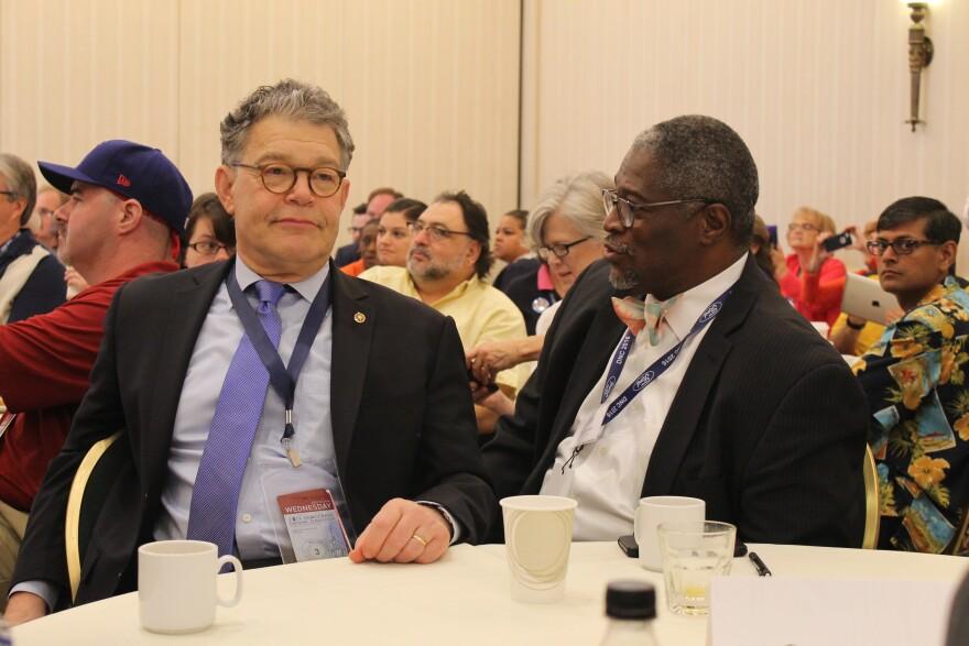 U.S. Sen. Al Franken of Minnesota, left, and Kansas City Mayor Sly James were the keynote speakers to the Missouri delegation at the Democratic National Convention.