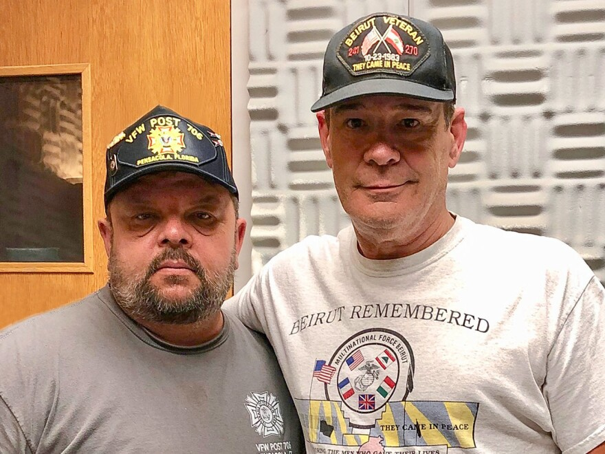 At StoryCorps last month in Pensacola, Fla., Mike Cline (left) interviewed his friend and fellow veteran, James Edward Brown, who survived the deadly 1983 bombing of the Marine barracks in Beirut.