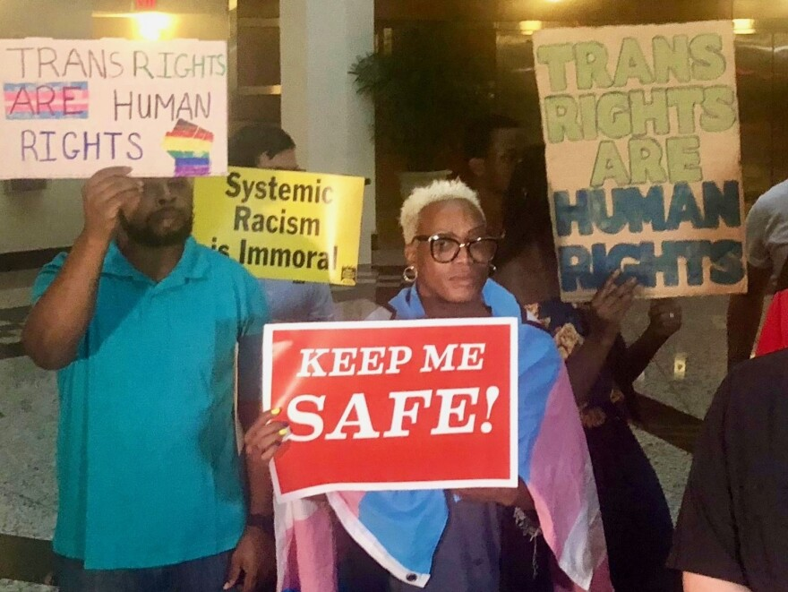 A group of advocates upset with the Jacksonville Sheriff's Office's handling of transgender shootings spoke out at Jacksonville City Hall in June.