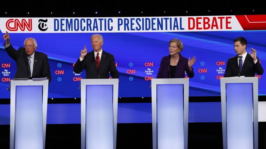 Democratic presidential candidates (from left): Sen. Bernie Sanders, former Vice President Joe Biden, Sen. Elizabeth Warren and South Bend, Ind., Mayor Pete Buttigieg during a Democratic presidential debate.