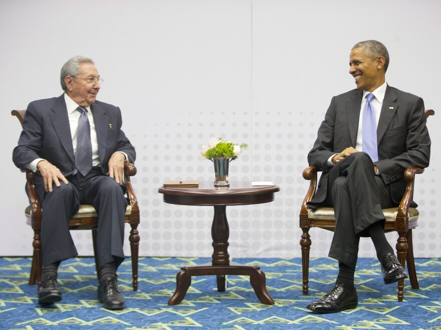 President Obama with Cuban President Raul Castro during their historic meeting in April at the Summit of the Americas in Panama City.
