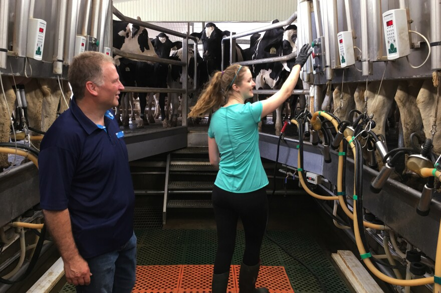 """""""By somehow opening up the Canadian market to American producers, it is not going to solve their overproduction problem,"""" says Murray Sherk, the owner of the family-run Pinehill Dairy in Plattsville, Ontario, here with daughter Melodie Sherk. """"What they need to have is some way of controlling production, because the market just gets flooded."""""""