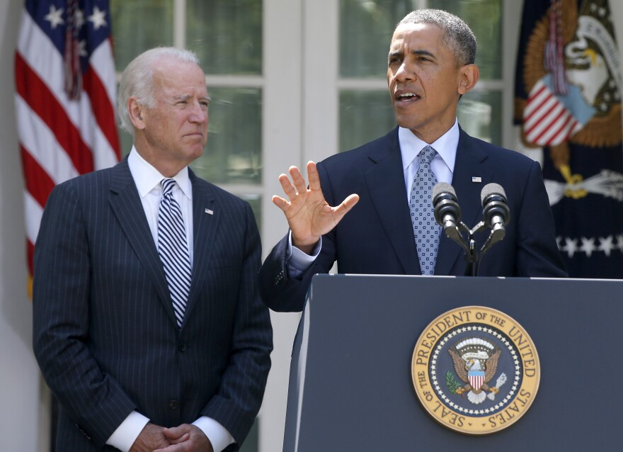 President Obama, accompanied by Vice President Biden in the White House Rose Garden, lashed out at House Republicans for stalling immigration legislation.