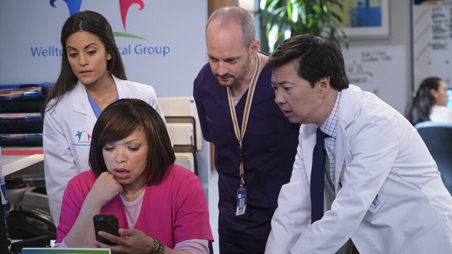 Ken Jeong, right, stars in the new ABC series <em>Dr. Ken. </em>Jeong appears with, from left, Kate Simses, Tisha Campbell-Martin and Jonathan Slavin.