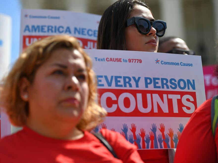 Demonstrators rally in Washington, D.C., in April 2019 against the now-blocked citizenship question that the Trump administration tried and failed to get on the 2020 census forms.