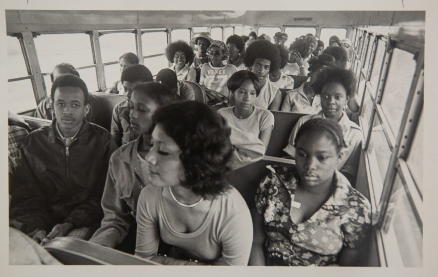 Black AISD students on a bus in 1971
