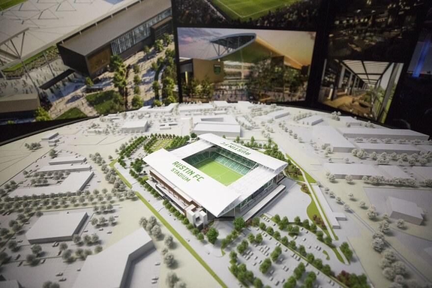 A scale model of the future stadium.