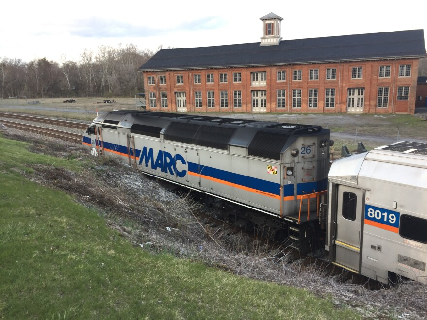 The MARC train's Brunswick Line parked at the Martinsburg Train Station. Photo taken in Apr. 2018.