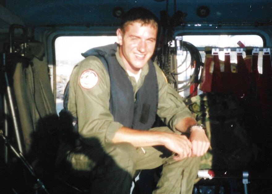 Jim Benes as a Coast Guard air crew member on a rescue helicopter in 2005.