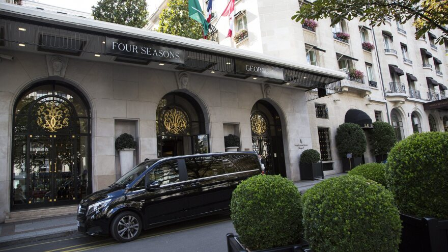The Four Seasons George V hotel is seen in Paris. Armed robbers held up a convoy of Saudi diplomatic vehicles that was bound for a Paris airport from the hotel, with about $335,000 in cash.