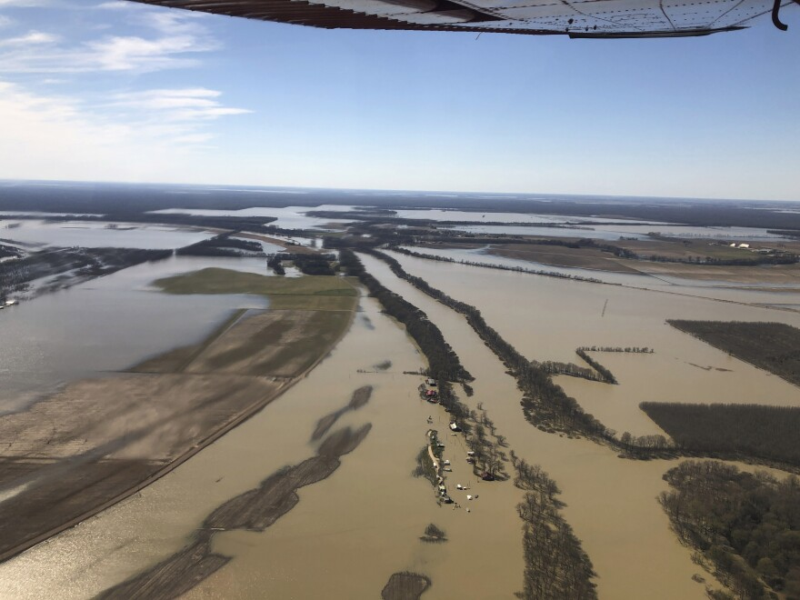 Farms near Yazoo City, Miss., flooded in March 2019. The Mississippi River and all its tributaries flooded last year and remained above flood stage for months.