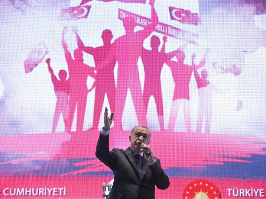 Turkey's President Recep Tayyip Erdogan speaks in Istanbul at an event marking the second anniversary of a failed coup attempt on July 15.