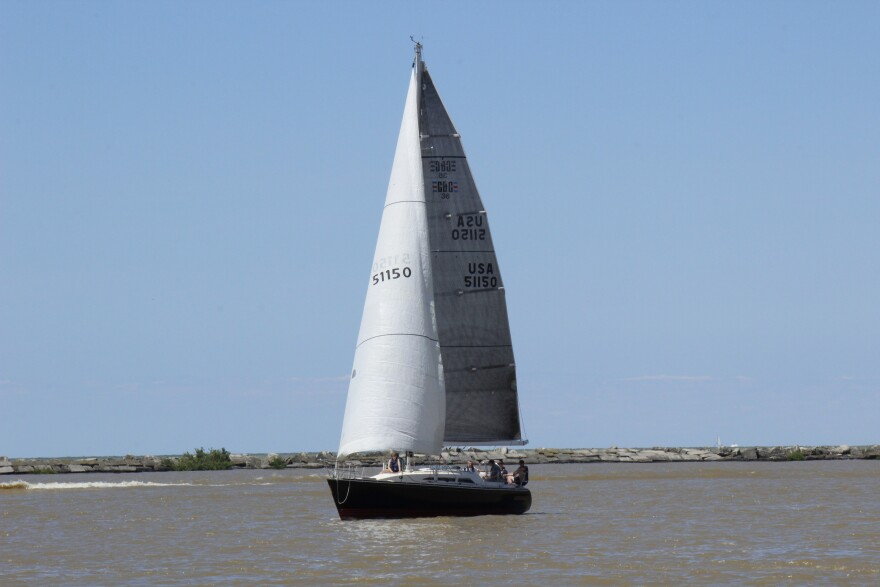 a photo of a sailbot on Lake Erie