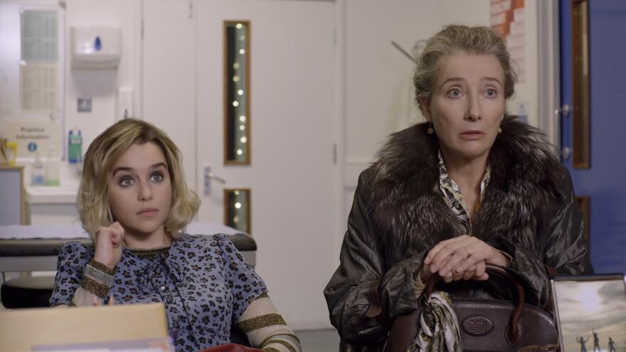 Emilia Clarke (left) and Emma Thompson star in <em>Last Christmas</em>, which Thompson co-wrote.