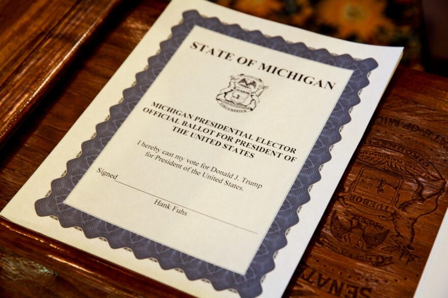 A ballot for the electoral college waits before the Michigan representatives to the electoral college met to cast their votes at the Michigan State Capitol in Lansing, United States.