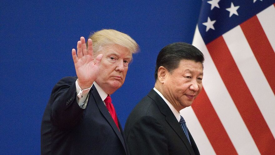 U.S. President Donald Trump and Chinese President Xi Jinping leave an event in Beijing on Nov. 9, 2017. The Trump administration, and the Obama administration before that, have brought cybertheft concerns to the Chinese directly.