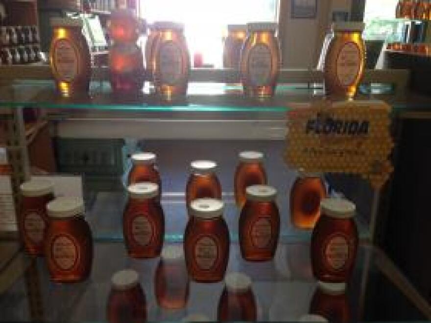 Orange Blossom honey jars at the Harold P. Curtis Honey Co. in Labelle, Florida.