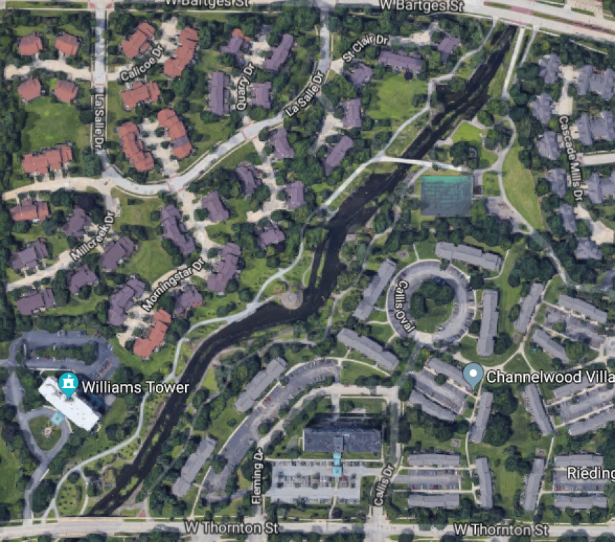 an overhead view of the location of the park