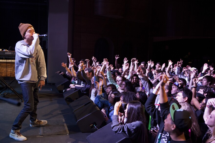 Korean American rap artist, Dumbfoundead performs at the Howard Theatre in Washington, D.C., on March 26.