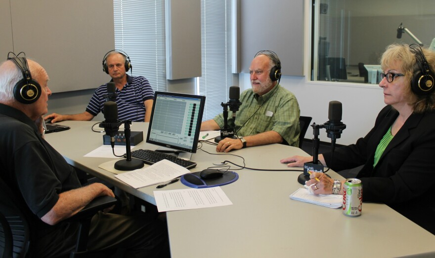 Professors of political science Ken Warren of SLU (left) and Dave Robertson of UMSL (middle) joined St. Louis Public Radio's Jo Mannies (right) and host Don Marsh.