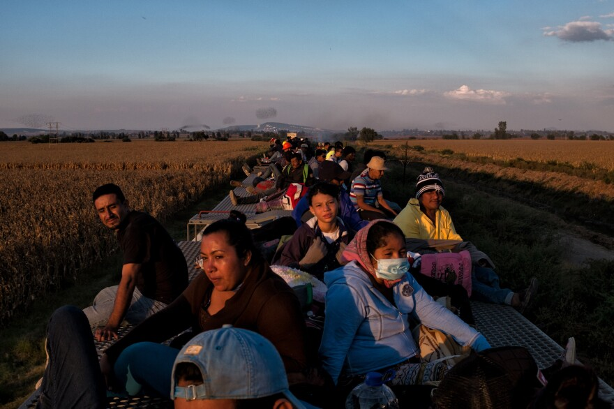 Migrants aboard <em>La Bestia</em> (The Beast) traveling to the U.S. in search of asylum, Oct. 22, 2017.