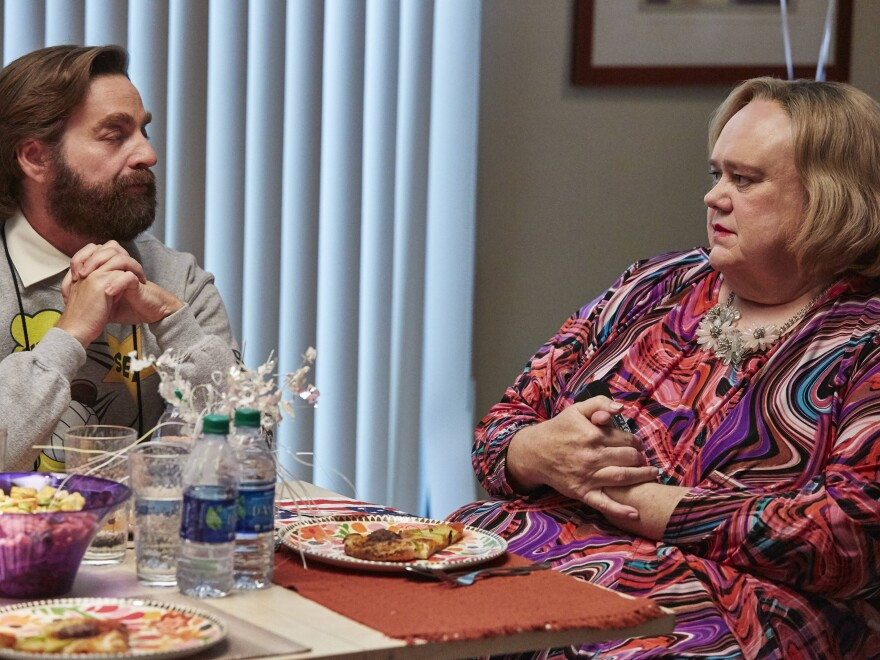 In <em>Baskets, </em>Anderson (right) plays the mother of an embittered rodeo clown and his twin brother, Dale<strong> </strong> (both played by Zach Galifianakis)<em>.</em>