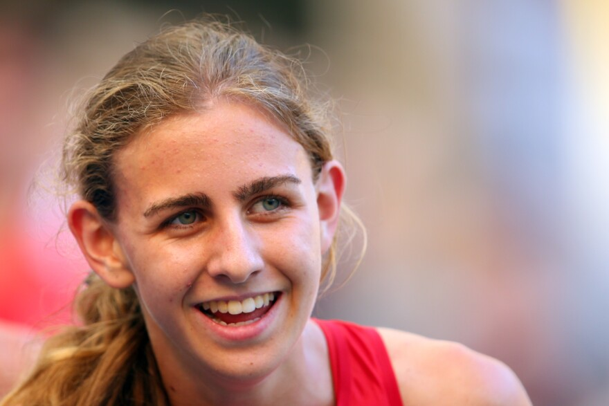Mary Cain of the United States competes in the Women's 1500 metres heats during Day Two of the 14th IAAF World Athletics Championships Moscow.