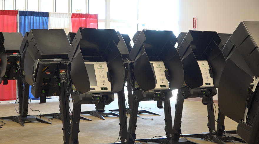 A photo of voter machines.