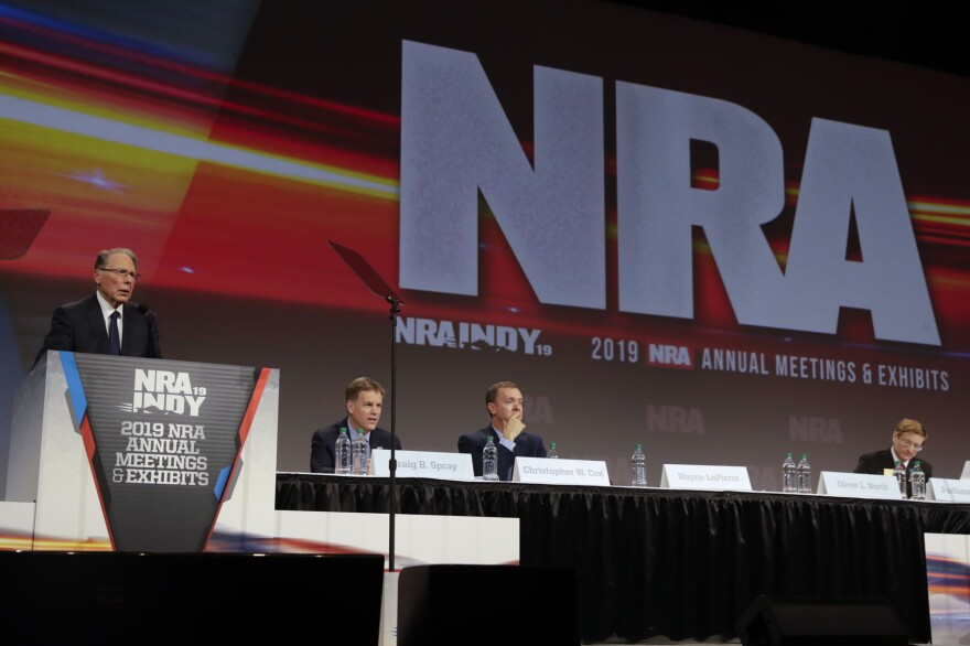 National Rifle Association Executive Vice President Wayne LaPierre speaks at the NRA Annual Meeting of Members in Indianapolis, Saturday, April 27, 2019. On Saturday, retired Lt. Col. Oliver North has announced that he will not serve a second term as president of the NRA amid inner turmoil in the gun-rights group. (Michael Conroy/AP)