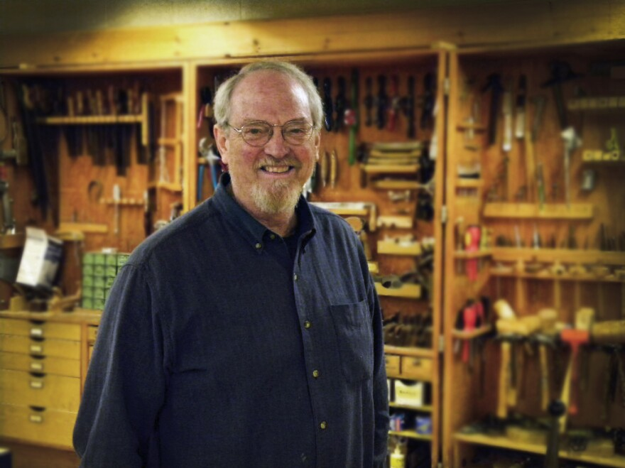 Wood shop teacher Dudley P. Whitney in his classroom.