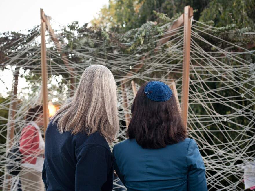 Rabbi Rachel Gartner (right) commissioned the Georgetown sukkah after reading about Sukkah City, a design competition in New York in 2010. She wanted it to prompt conversation.
